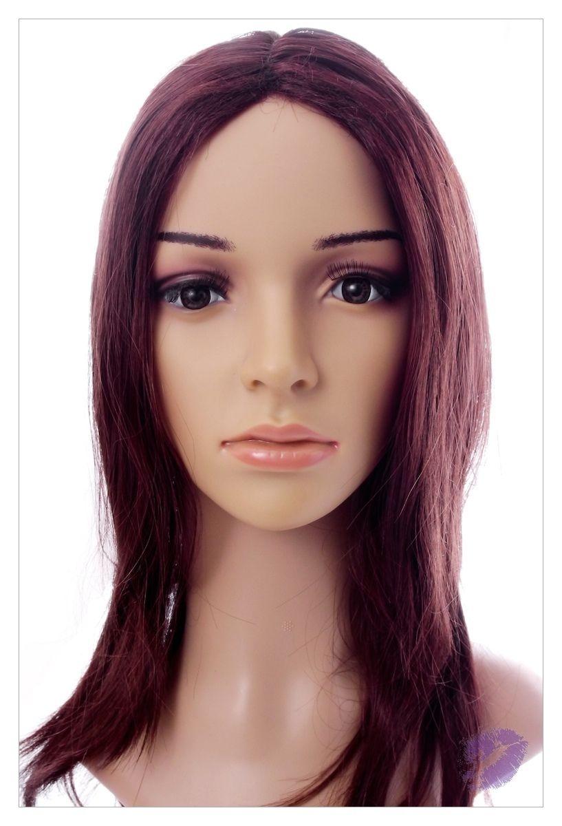 Naturally Straight Hair Synthetic Wig Mahogany Chestnut Shade, Length 22 inch-0