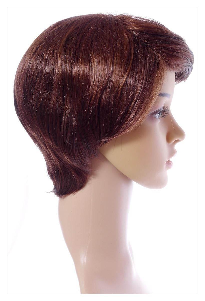 Gorgeous Wavy Dark Brown Auburn Mix Lady Wig UK-1509