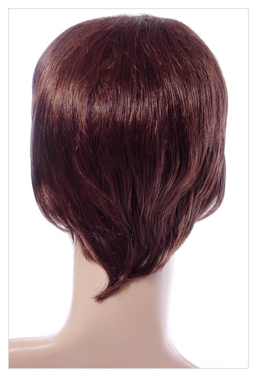 Gorgeous Wavy Dark Brown Auburn Mix Lady Wig UK-1511