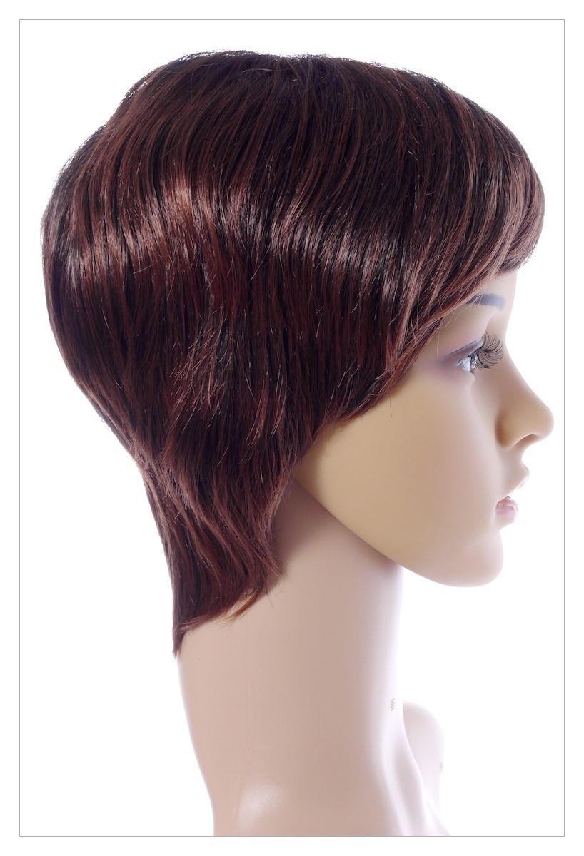 Classy Sophisticate Short Bob Skin Top Chestnut Brown mix Blonde Lady Wig UK-1414
