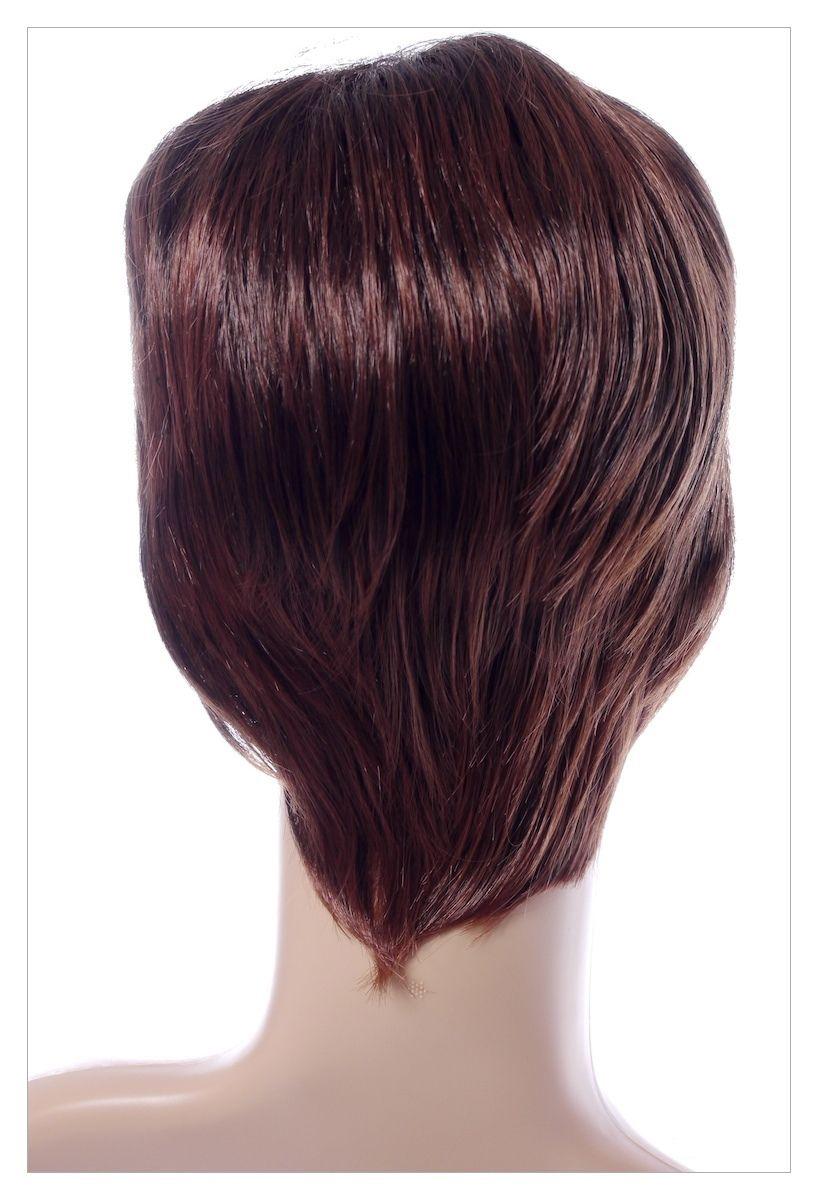 Classy Sophisticate Short Bob Skin Top Chestnut Brown mix Blonde Lady Wig UK-1415