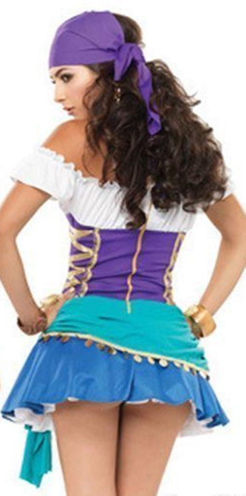 Womens Blue Gypsy Fortune Teller Costume Back