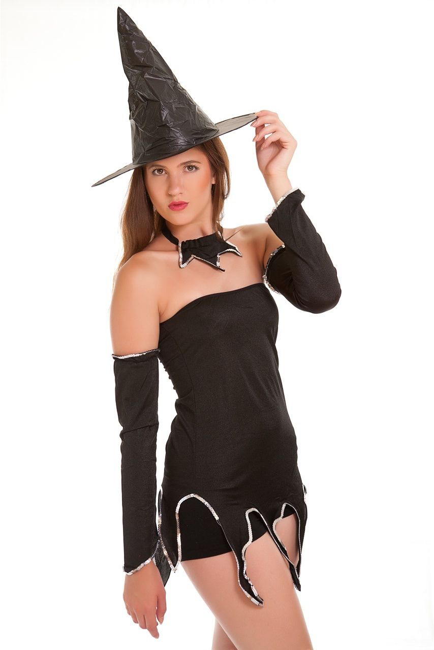 Ladies Fancy Dress Costume Outfit Witch Halloween-1064
