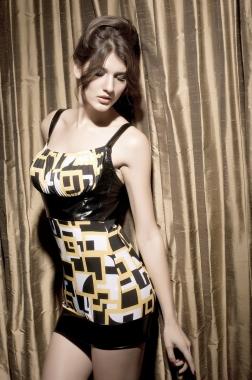 Black And Yellow Slinky Metallic Mini Dress