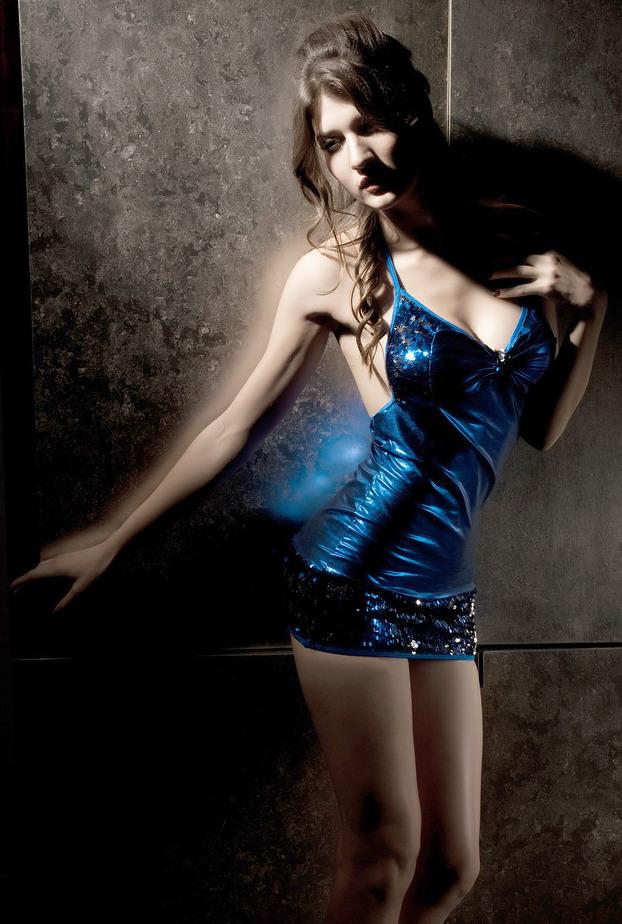 Blue Sequin And Metalic Mini Dress-0
