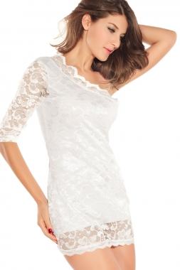 One Sleeve Open Shoulder Mini Dress-2051