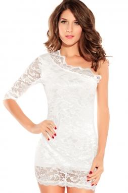 One Sleeve Open Shoulder Mini Dress-0