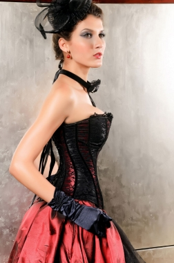 Can Can Black and Red Corset-2149