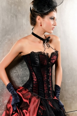 Can Can Black and Red Corset-0