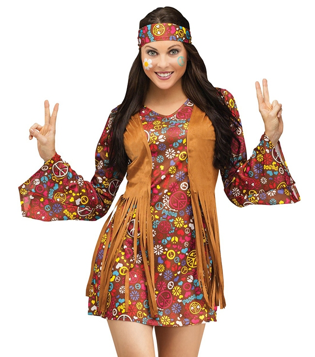 1960s Hippie Womens Adult Fancy Dress Costume