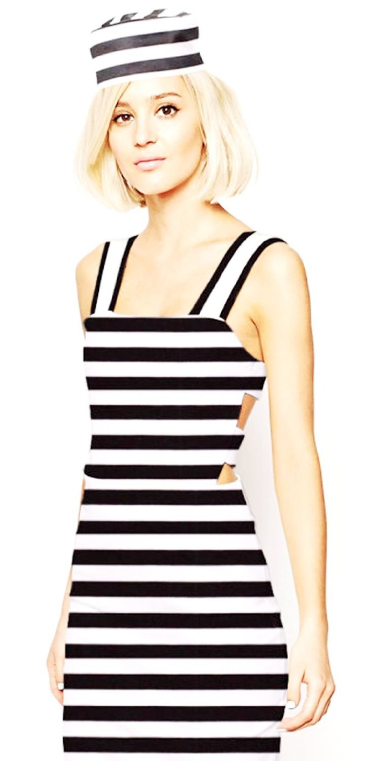 Classy Convict Prisoner Costume Womens Ladies Jailbird Robber Fancy Dress Outfit1