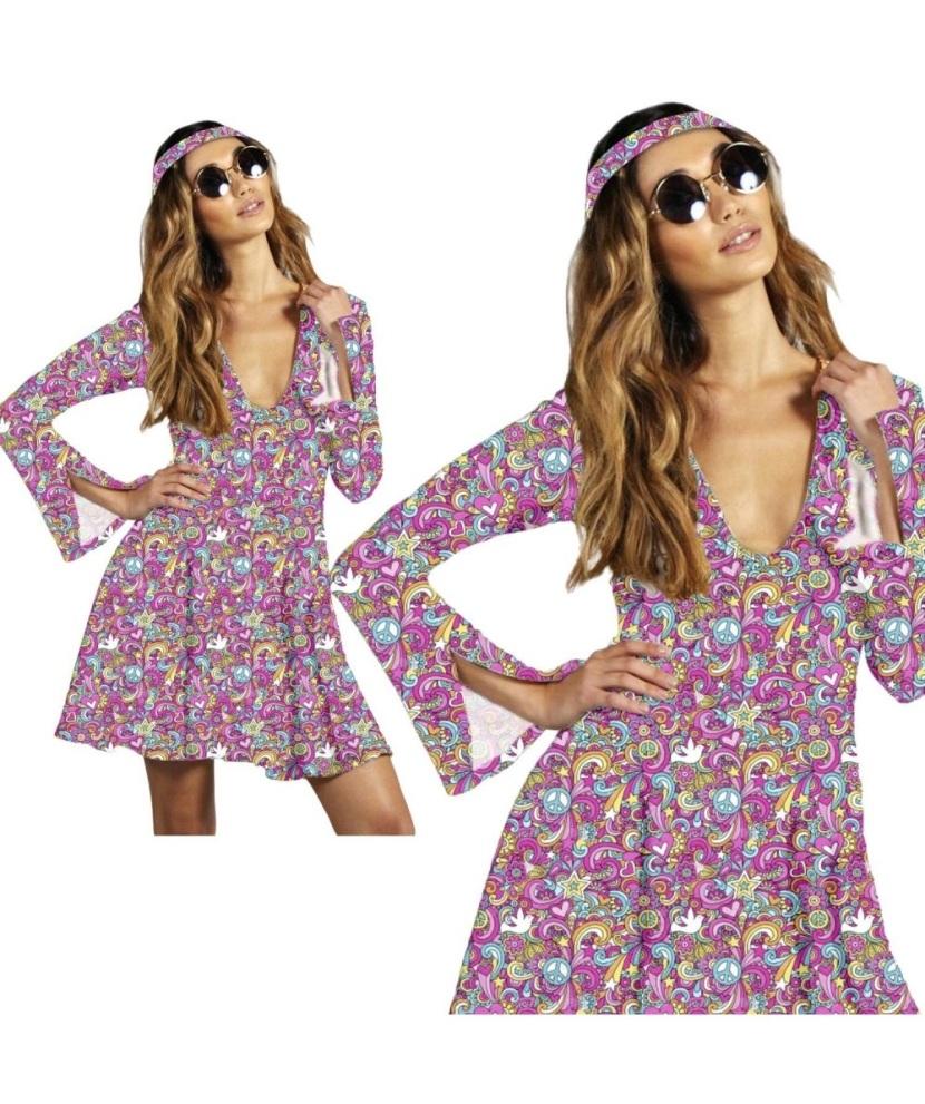 Hippie Flower Power Groovy Skater Dress