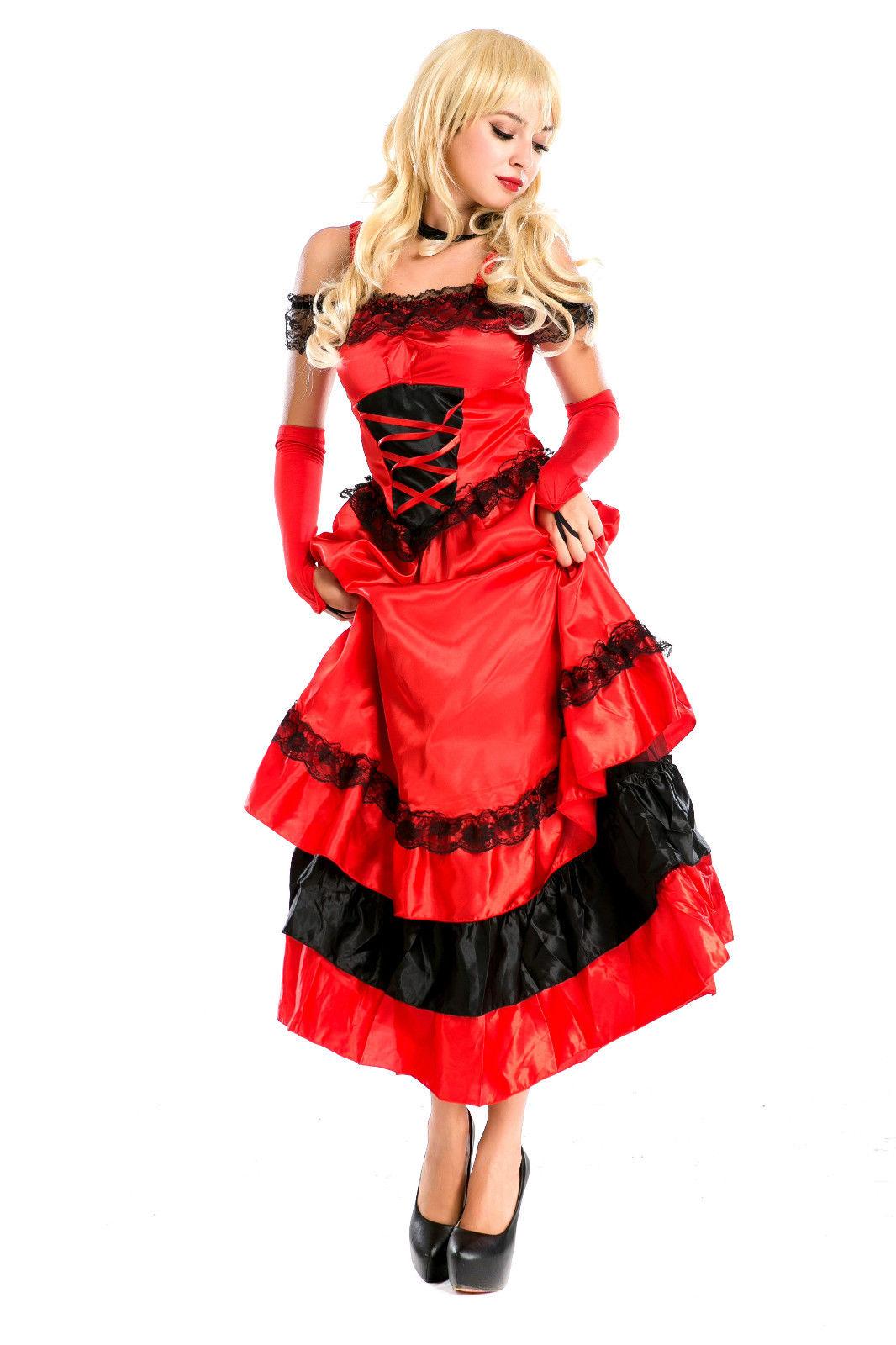 Adult Ladies Spanish Senorita Fancy Dress Flamenco Dancer Costume UK Sizes 8-16