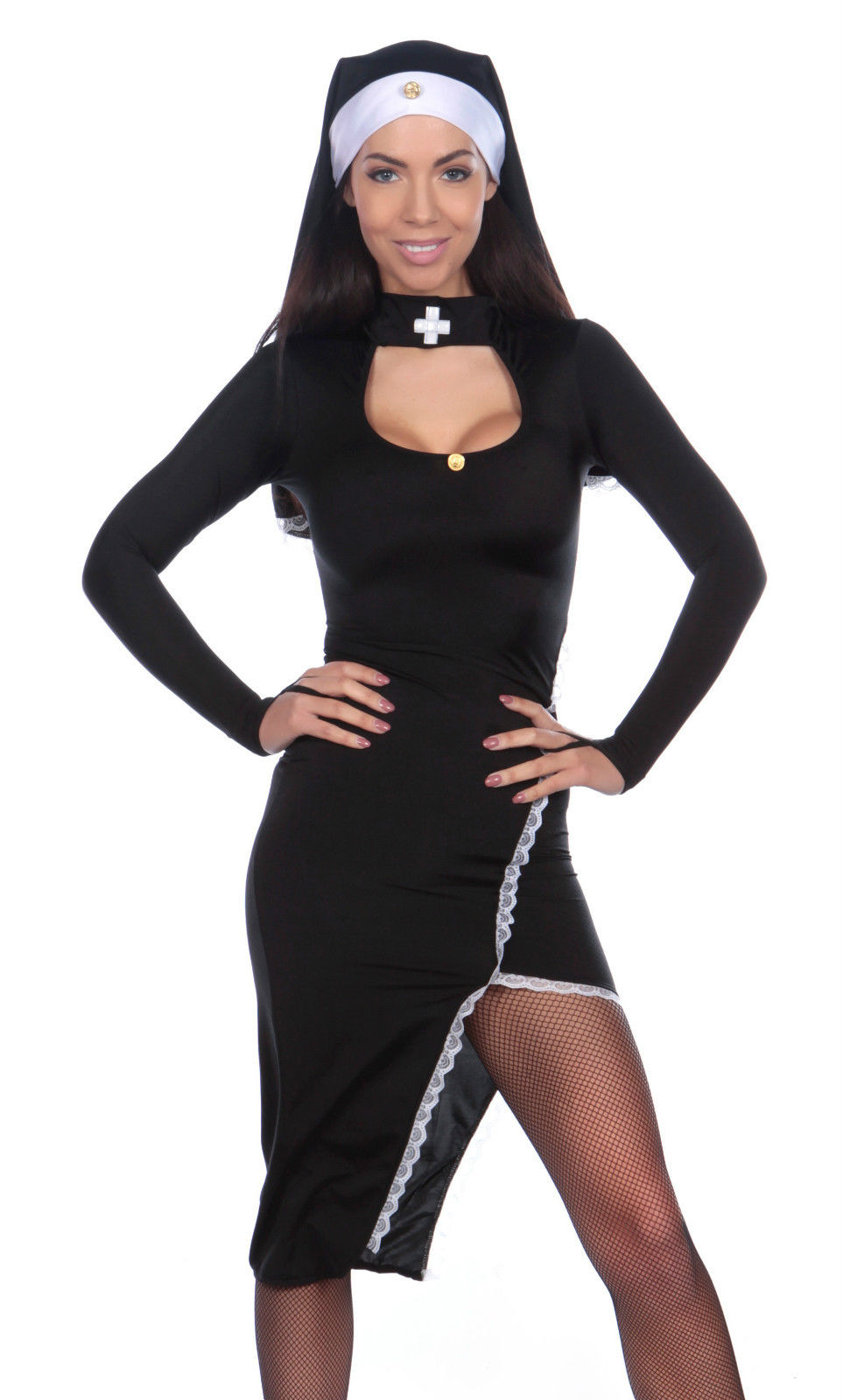 Sexy Nun Costume-Halloween Fancy Dress-Religious Outfit Ladies