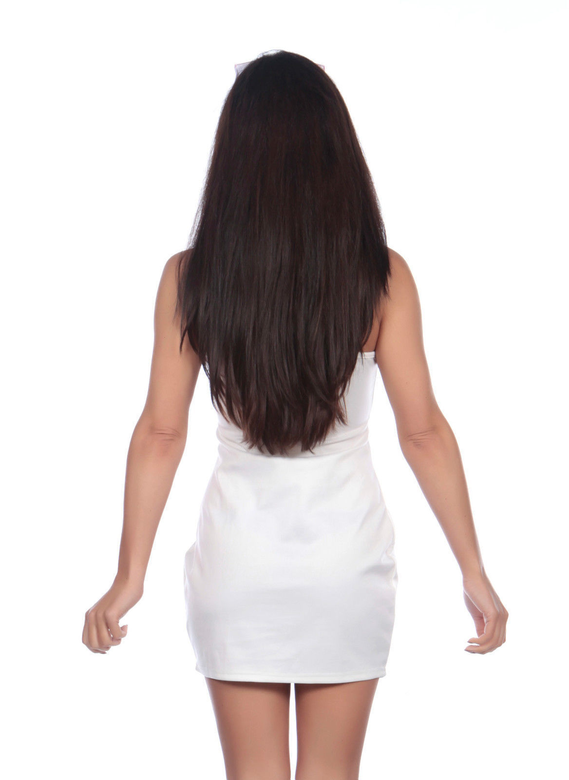 Ladies White Nurse Naughty Uniform Costume Back