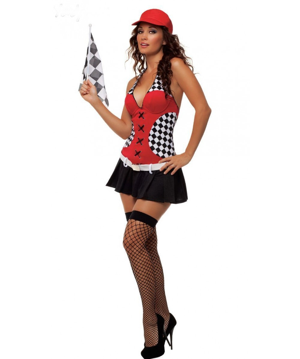 Sexy Miss Indy Super Car Racer Racing Sport Driver Grid Girl Fancy Dress Costume