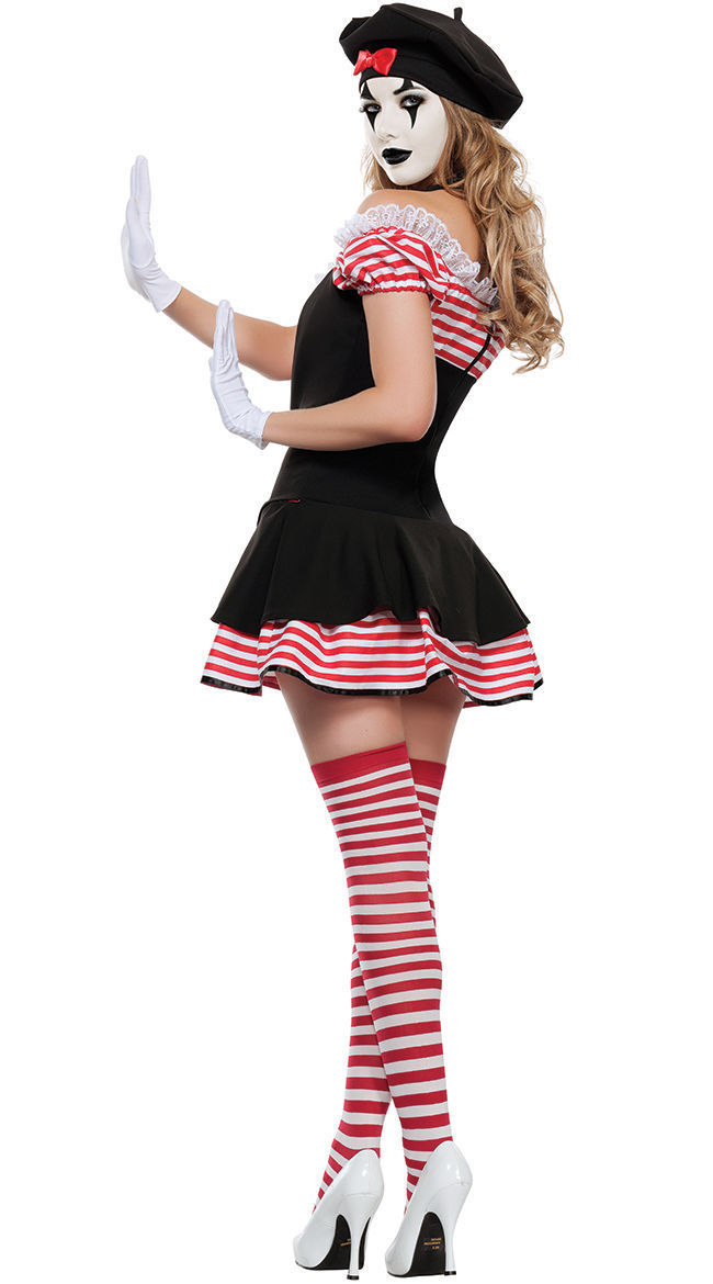Sexy Mime Artiste Ladies Fancy Dress Costume Womens French Circus Pierrot Clown