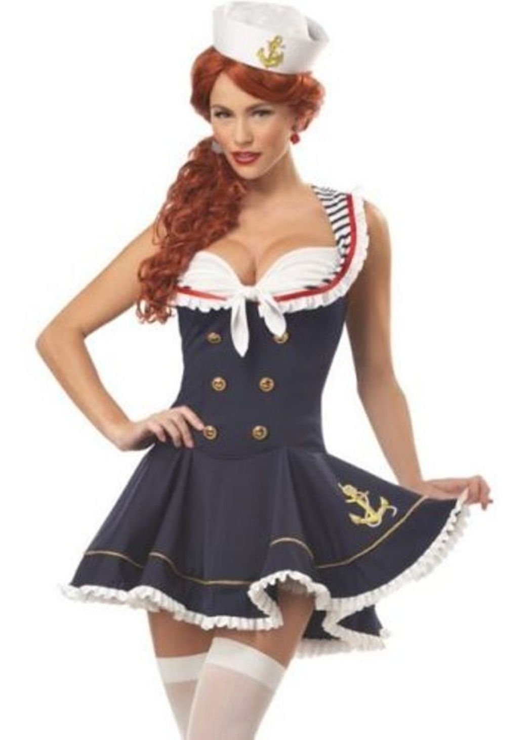 Ladie's Sassy Sailor Girl Costume Adult Navy Fancy Dress Womens Nautical Outfit