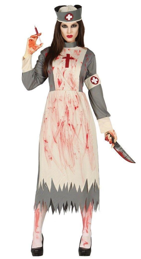 Ladies Zombie Victorian Nurse Costume Ghost Womens Halloween Fancy Dress Outfit