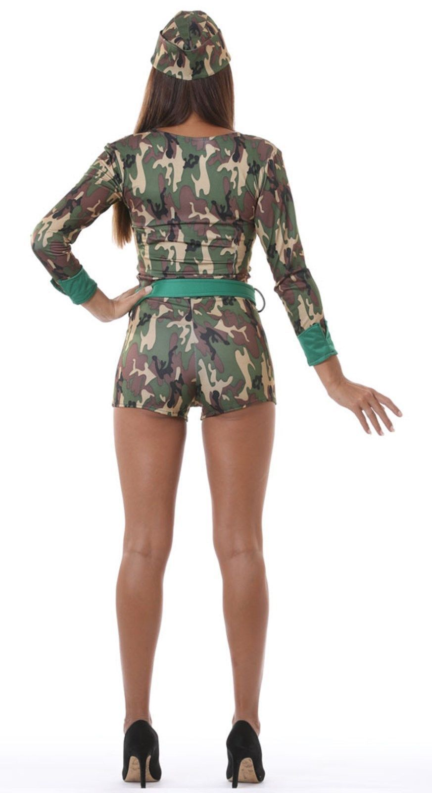 Ladies Commando Girl Soldier Fancy Dress Costume Back