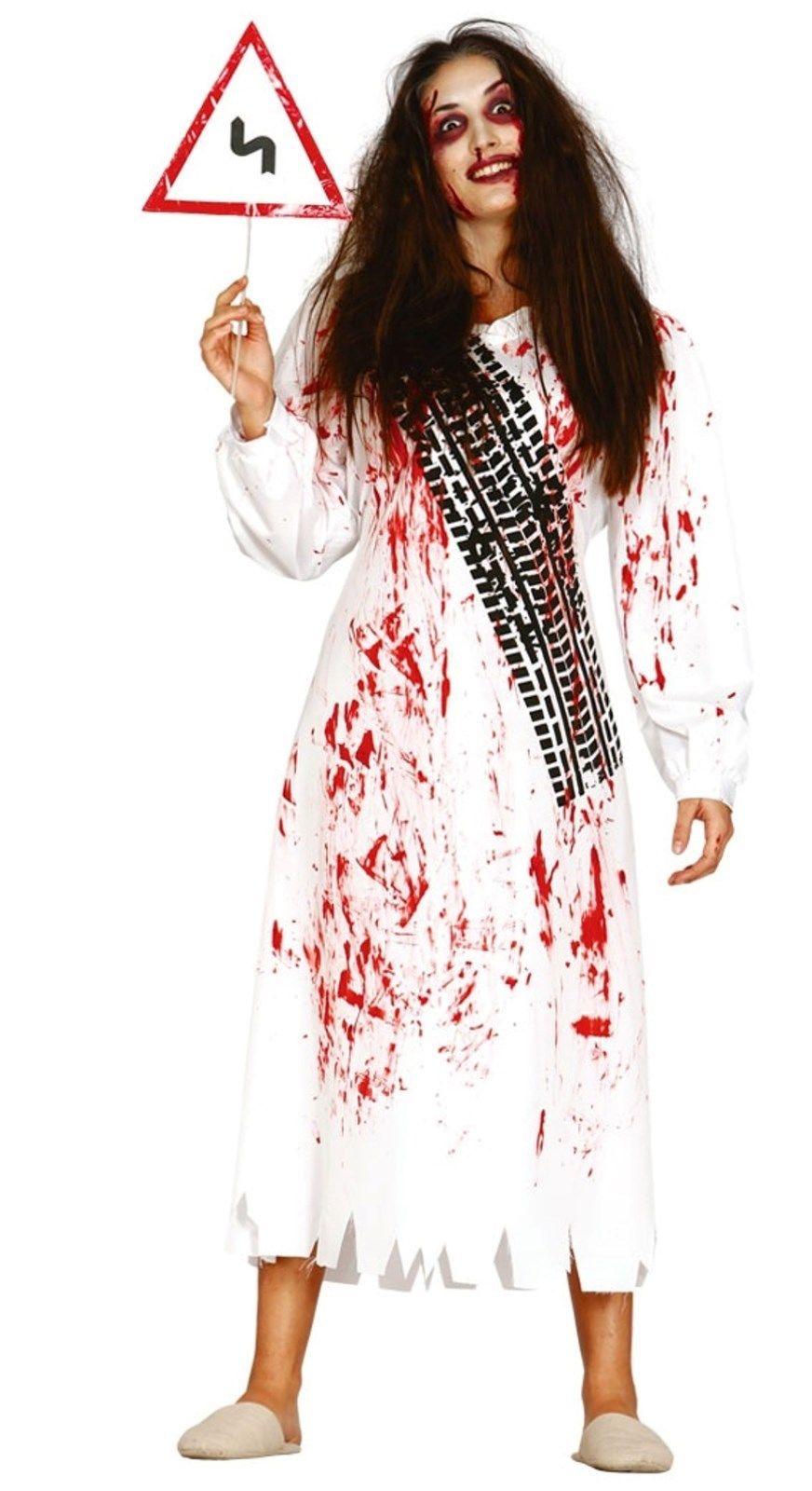 Ladies White Zombie Corpse Costume Asylum Horror Halloween Fancy Dress Road Sign