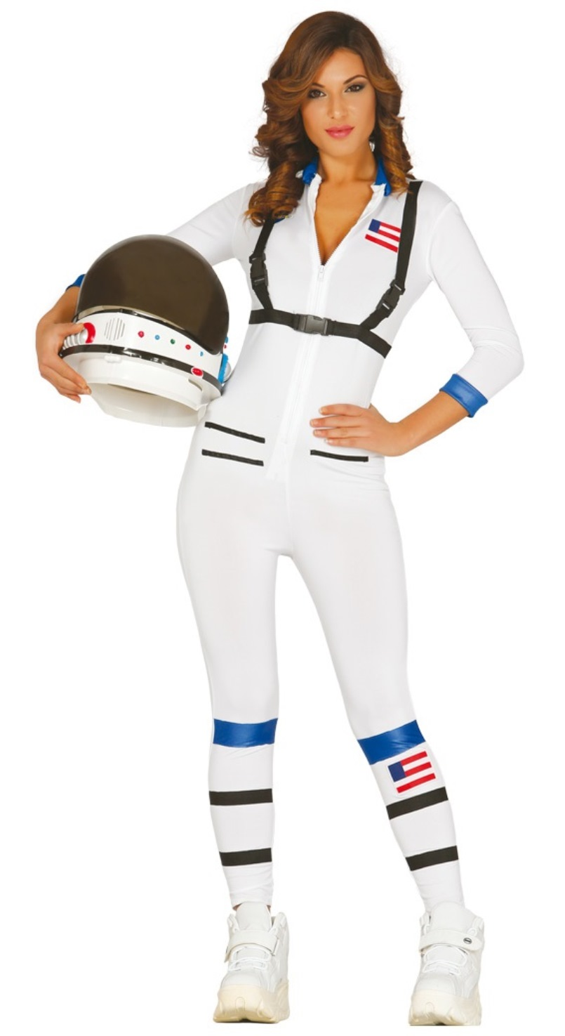 Womens White Astronaut Space Suit Jumpsuit Uniform Moon Walk Costume
