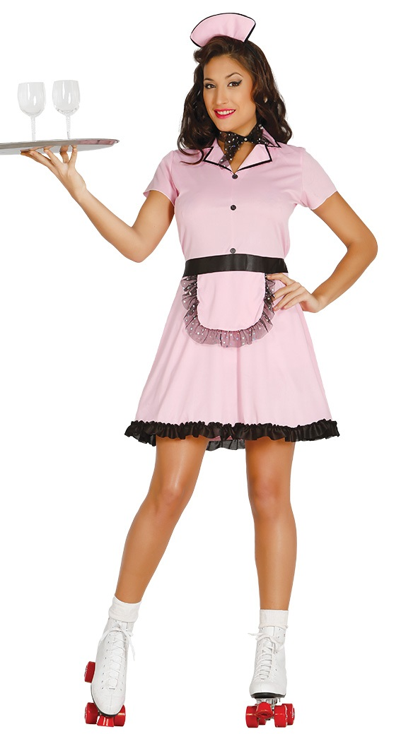 Ladies 50s Roller Skate Waitress Costume TV Film Hen Do Night Fancy Dress Outfit