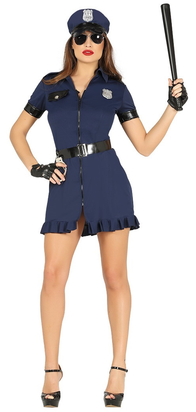 Womens Black Blue Police Cop Officer Halloween Costume
