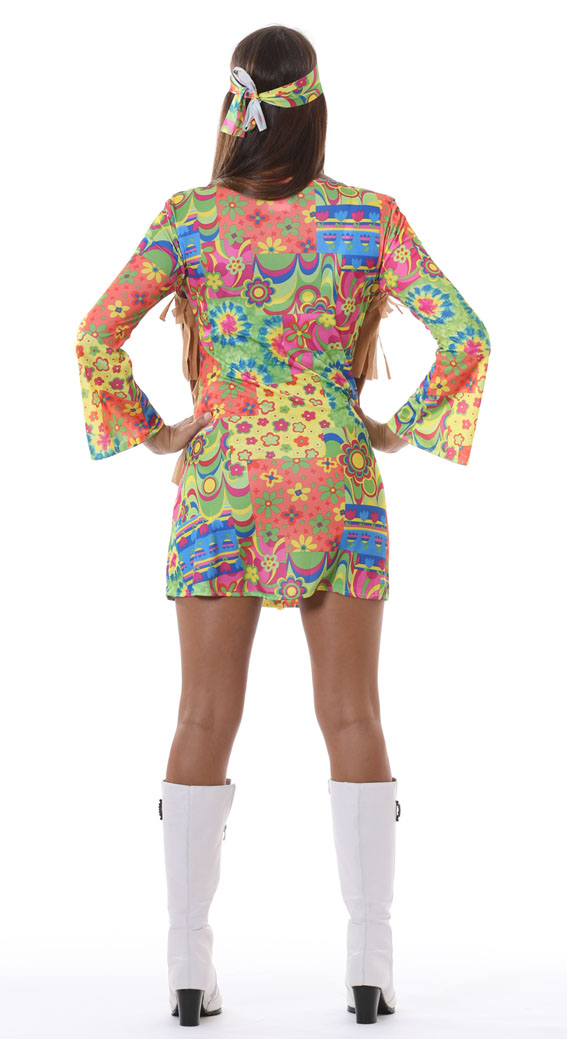 Womans Flower Power Hippie Retro Costume Dress back