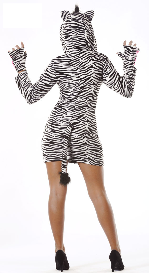 Adult Sexy Zebra Girl Costume Back