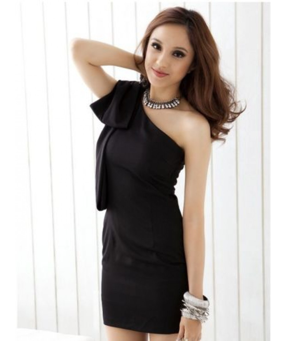 Black One Shoulder Bodycon Short Dress