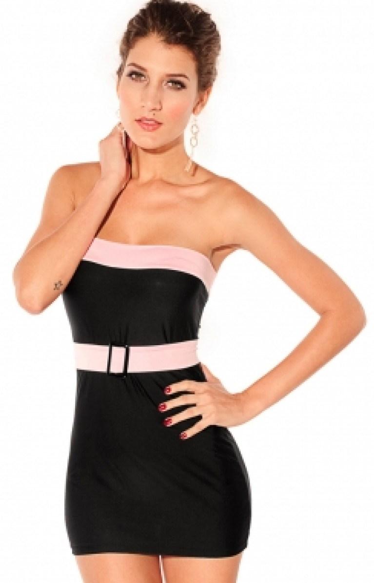 Tube Bodycon Clubwear Contrast Dress
