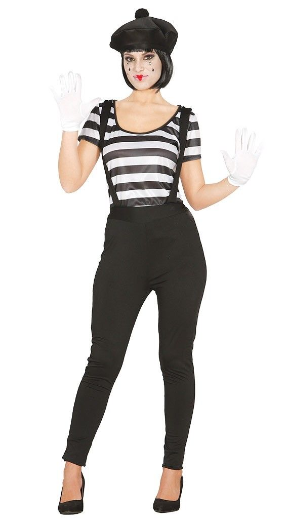 Adult Womens Mime Artist Costume French Street Circus Fancy Dress Outfit