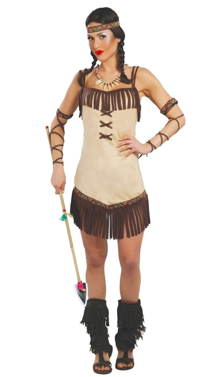 Ladies Womens Native Red Indian Squaw Pocahontas Costume Outfit