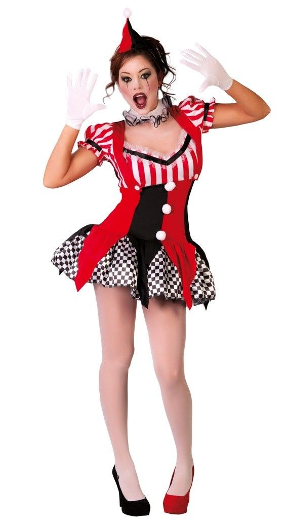 Harlequin Circus Mime Cirque Clown Jester Fancy Dress Party Halloween Costume