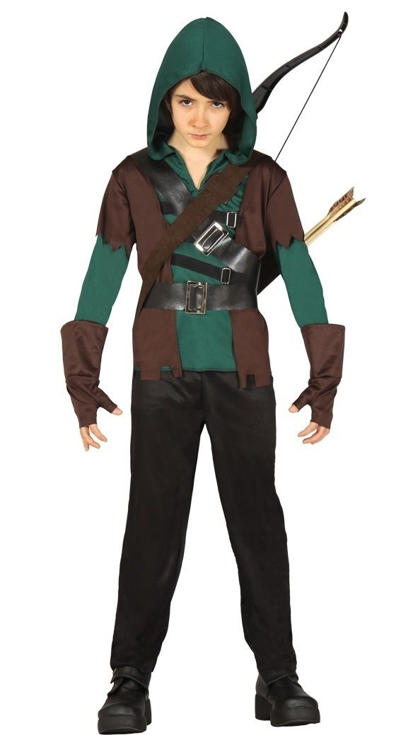Boys Medieval Archer Robin Hood Book Day Halloween Fancy Dress Costume Outfit -0