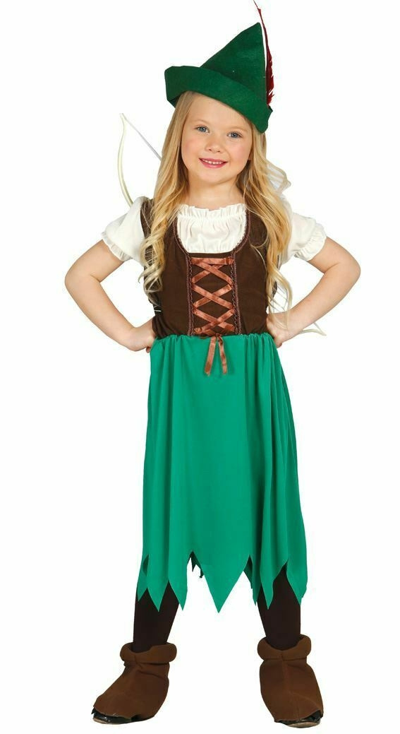 Girls Robin Hood Fancy Dress Costume Medieval Outlaw Hero Book Day Kids Outfit -0