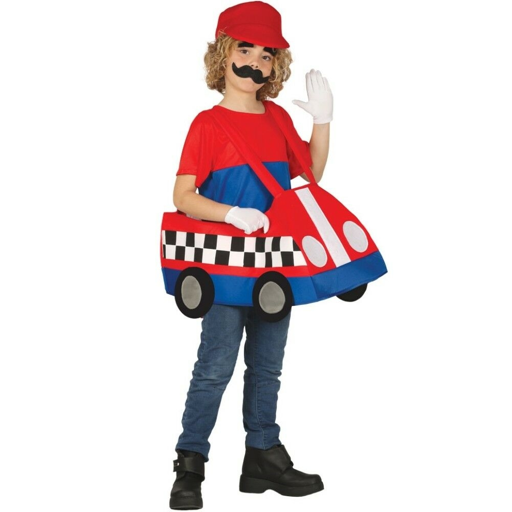 Super Mario Crazy Cars Costume Children Fancy Dress Party Outfit Cosplay-0