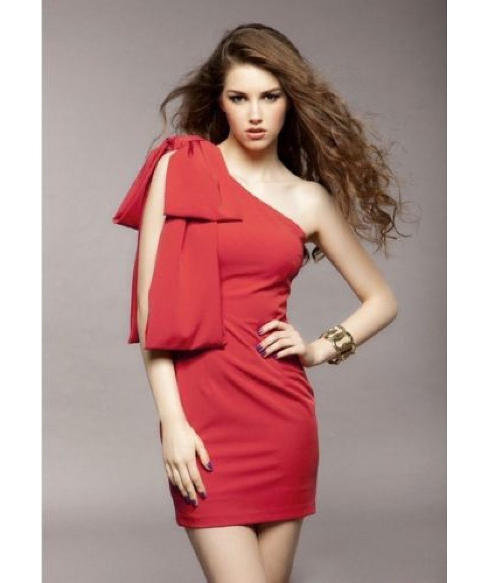 one shoulder Red Bodycon mini dress