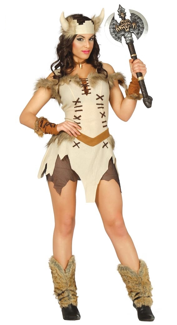 Womens Viking Warrior Cream Costume