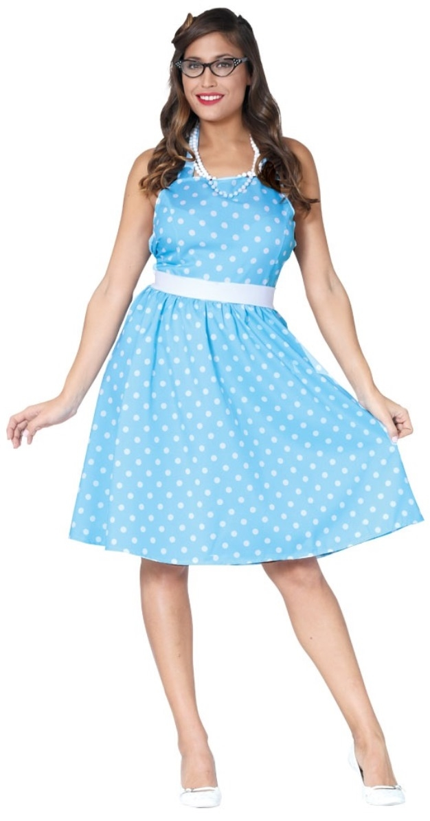 Ladies Polka Dot Prom 1950s Blue White Fancy Dress 50's Rock n Roll Womens Costume Outfit