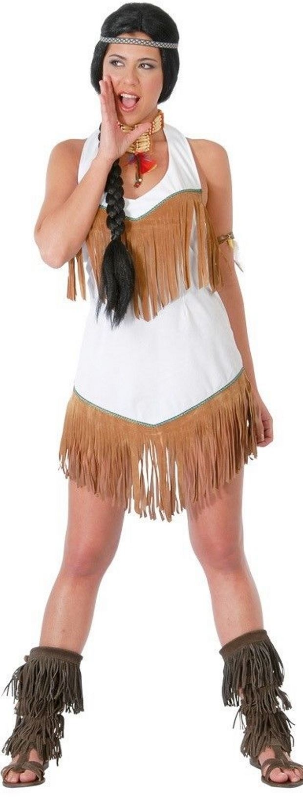 Ladies Red Indian Costume Adults Pocahontas Fancy Dress Native American Outfit