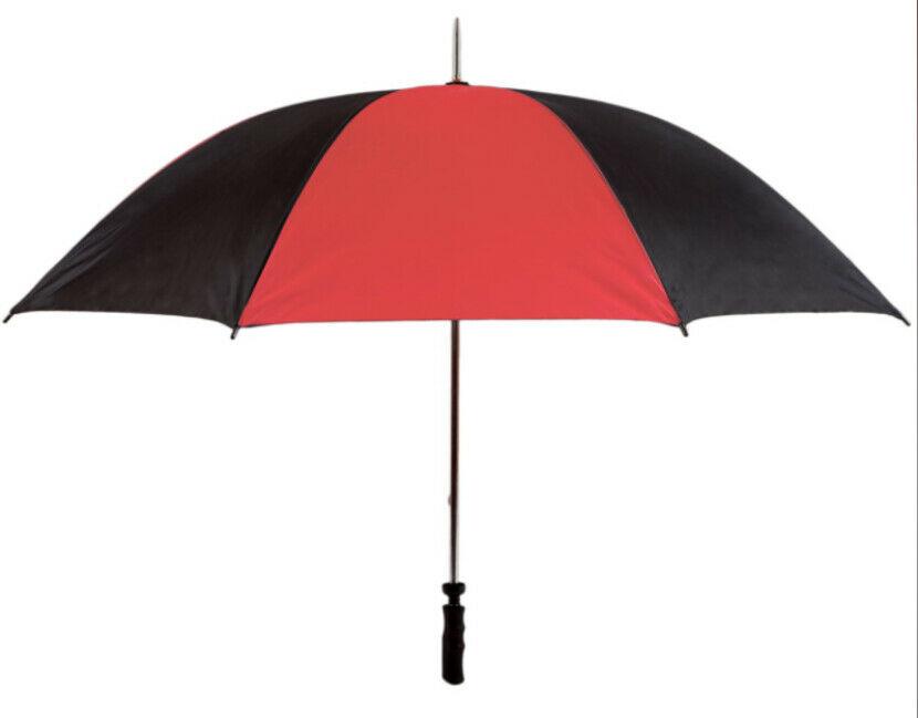 red black golf umbrella view